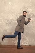 Man Handsome Bearded Businessman Hold Cup Of Coffee. Coffee Break Concept. Style In Motion. Business poster