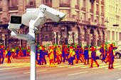 Video Surveillance And Technology. Video Surveillance Camera On The Background Of People Walking On  poster
