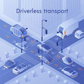 Driverless Transport Banner. Unmanned Personal, Public And Commercial Vehicles With Infrared Sensor  poster