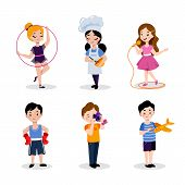 Childrens Hobby And Education, Vector Flat Cartoon Illustration. Babies Boys And Girls Isolated On  poster