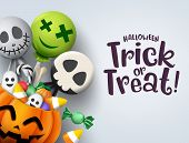 Trick Or Treat Hallowenn Greeting Card Vector Background. Halloween Trick Or Treat With Pumpkin And  poster