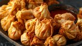 Chinese Takeaway Finger Food Vegetable Wontons With Sweet Chilli Dip Sauce poster