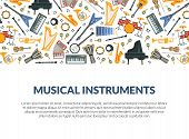 Musical Instruments Banner Template With Different Music Instruments Seamless Pattern And Space For  poster