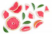 Grapefruit And Slices With Leaves Isolated On White Background. Top View. Flat Lay Pattern poster