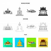 Vector Illustration Of Journey And Exotic Icon. Collection Of Journey And National Stock Symbol For  poster