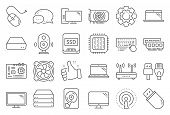 Computer Components, Laptop, Ssd Line Icons. Motherboard, Cpu, Internet Cables Icons. Wifi Router, C poster