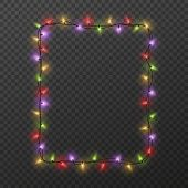 Frame With Light Garland. Christmas Square Border With Color Glowing Light Bulbs Isolated On Transpa poster