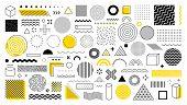 Set Of 100 Geometric Shapes. Memphis Design, Retro Elements For Web, Vintage, Advertisement, Commerc poster