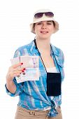Happy Traveller Woman With Passport