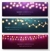 Light Garland Banners. Glowing Light Bulbs On Strings, Festive Christmas Party Decor. Abstract Xmas  poster