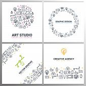 Art Studio, Graphic Design, Creative Agency And Vector Graphic. Set Of Backgrounds With Doodle Desig poster