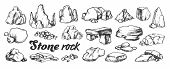 Stone Rock Gravel Collection Monochrome Set Vector. Different Stone, Gravel And Pebble. Natural Rock poster