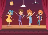 Kids Stage. Children Performance Karaoke Sing Boys And Girls Vector Backgrounds. Illustration Karaok poster