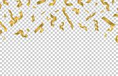 Falling Gold Ribbons. Golden Confetti Isolated On Transparent Background. Vector Party Festive Banne poster