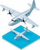 picture of hydroplanes  - Vector isometric seaplane - JPG