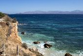 Greece The Island Of Paros. On A Bright And Breezy Summers Day The Sea Glimmers In The Sun. The High poster