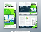 Green Tri Fold Brochure Design With Square Shapes. Corporate Business Template For Tri Fold Flyer. C poster