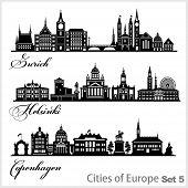 City In Europe - Zurich, Helsinki, Copenhagen. Detailed Architecture. Trendy Vector Illustration. poster