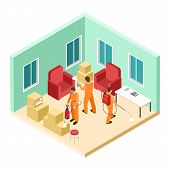 Isometric Disinfection Service. Vector Pest Control. Disinfectors Work In Living Room. Isometric Con poster