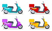 Color Scooters Set. Motorbike Delivery Vehicles. Detailed Motorcycling Transport Isolated Vector Set poster