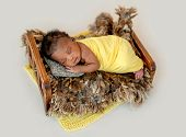 Adorable African newborn sleeping in wooden cradle poster