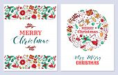 Christmas Holiday Greeting Cards Vector Templates Set. New Year Postcards Design Pack. Mistletoe, Be poster
