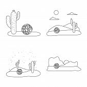Isolated Object Of Wilderness And Texas Icon. Collection Of Wilderness And Pasture Stock Symbol For  poster