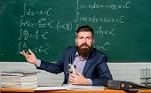 In Chemistry Laboratory. Chemistry Teacher Or Lab Scientist. Bearded Man Teach Chemistry. Hipster Us poster