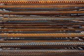Industrial Background. Rebar Texture. Rusty Rebar For Concrete Pouring. Steel Reinforcement Bars. Co poster