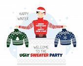 Vector Banner For Welcome To Ugly Sweater Party. Invitation Or Poster For Christmas And New Year Par poster