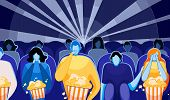 People Watching Movie Or Film And Eating Pop Corn Flat Cartoon Vector Illustration. Cinema Audience  poster