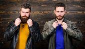 Brutal Men Wear Leather Jackets. Leather Fashion Menswear. Men Brutal Bearded Hipster Posing In Fash poster