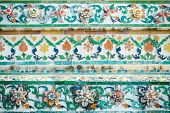 Tile Art Of Pagoda At Wat Arun Ratchawararam Ratchaworamahawihan Or Wat Jaeng, Bangkok, Thailand. Be poster