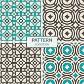 Set Of Four Vector Seamless Patterns. Abstract Geometric Color Backgrounds. Geometric Grid, Mesh Pat poster