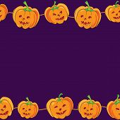 Vector Horizontal Seamless Halloween Banner With Cartoon Cute And Funny Pumpkins On Purple Backgroun poster