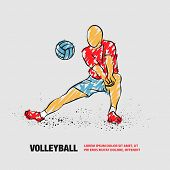 Volleyball Player Plays Volleyball. Vector Outline Of Volleyball Player With Scribble Doodles. poster