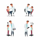 Kid And Pediatrician Flat Illustrations Set. Doctor Measuring Child Height, Weighting Boy. Pediatric poster