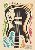 Electric Guitar And Colorful Shapes - Rock Concert Poster Design. Music Event Flyer Idea With Guitar poster