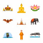 Vector Illustration Of Thailand And Travel Icon. Set Of Thailand And Culture Vector Icon For Stock. poster