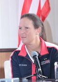 KHARKIV, UKRAINE - APRIL 19: Liezel Huber at the press-conference before Fed Cup Tie between USA and