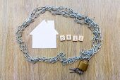Selling And Debt Concept - Chain Surrounding A House With The Word Sell poster