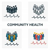 Community Health Icon Set. Four Elements In Diferent Styles From Icons Collection. Creative Communit poster