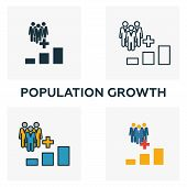 Population Growth Icon Set. Four Elements In Diferent Styles From Icons Collection. Creative Populat poster