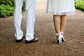 picture of wedding couple  - Feet of a young Wedding Couple  - JPG
