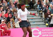 KHARKOV, UKRAINE - APRIL 22: Match between Serena Williams and Lesia Tsurenko during Fed Cup tie bet