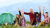Having Great Time Together. Men And Women On Picnic At Tent. Wanderlust Discovery. Mountain Tourism  poster