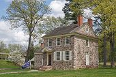 stock photo of revolutionary war  - This house at the Valley Forge National Historical Park was George Washington - JPG