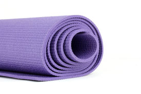 picture of yoga mat  - Purple Yoga Exercise Mat On White Background - JPG