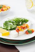 picture of halibut  - Poached halibut with peach salsa and green salad - JPG