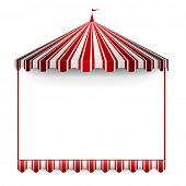 stock photo of tent  - detailed illustration of a carnivals frame with a circus tent on top - JPG